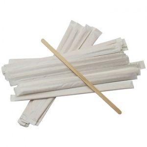Размешиватель деревянный 18см, в индивидуальной бумажной упаковке, 250шт/уп