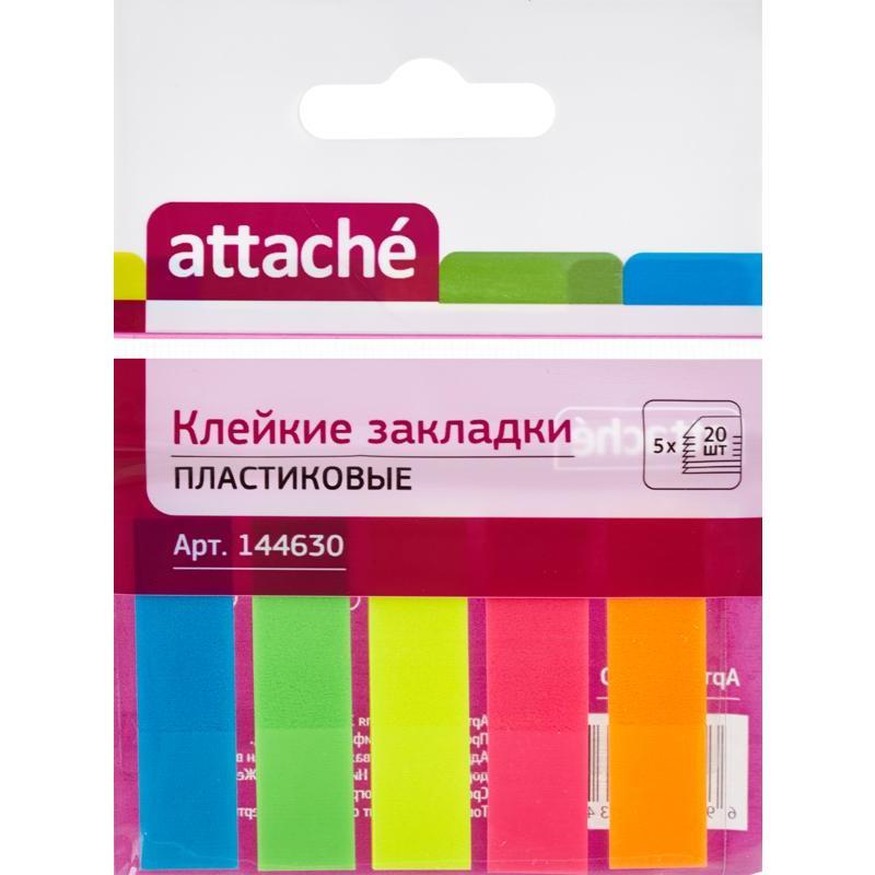 Закладки клейкие Attache 12х45мм, пластиковые, прямоугольные, неоновые, 5 цветов по 20 листов