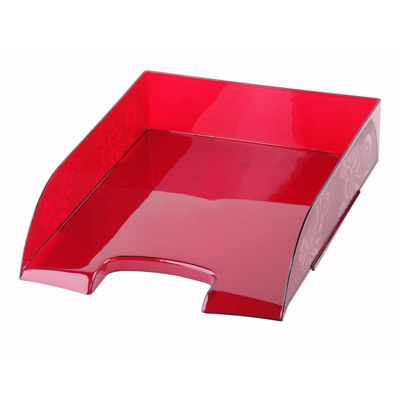 Лоток пластиковый для бумаг Комус «Русская серия», горизонтальный, 1 отделение, прозрачный, красный
