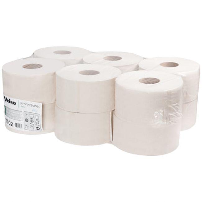 Бумага туалетная Veiro Professional Basic в рулоне, 200м/рул, 1-сл, белая, 12рул/уп, Т102
