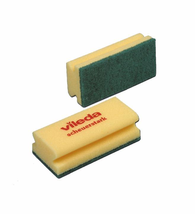 Губка поролоновая Vileda 15х7х4,5см, профильная, зеленый абразив, желтая, без упаковки, 101397