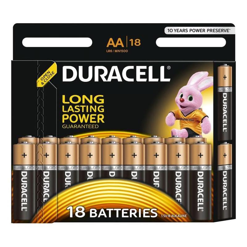 """Батарейки пальчиковые DURACELL """"Basic"""" АА/LR6, алкалиновые, 18шт/уп"""