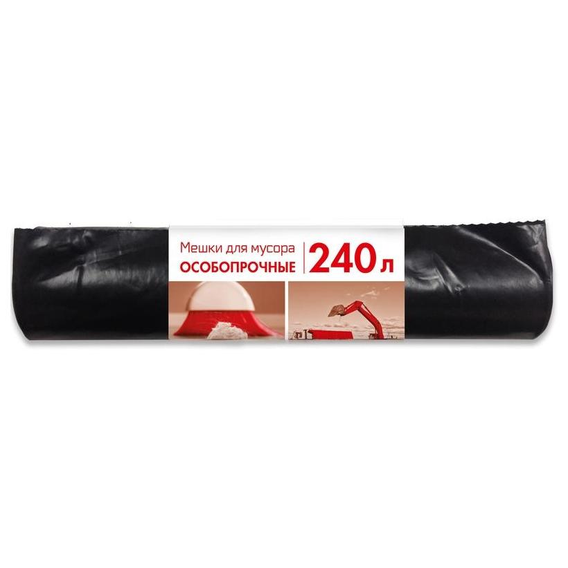 Мешки для мусора 240л, ПВД, в рулоне, 90х135см, 100мкм, 10шт/рул
