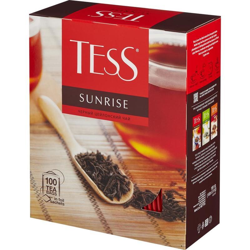 """Чай черный TESS """"Sunrise"""", пакетированный, цейлон, в индивидуальной упаковке, 100шт/уп"""