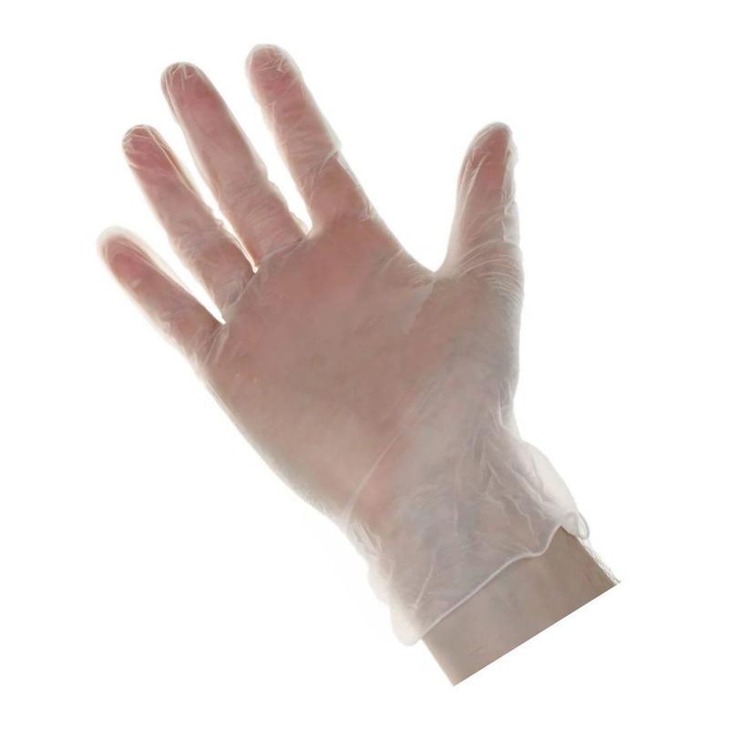 Перчатки виниловые размер М, неопудренные, белые, 100шт/уп