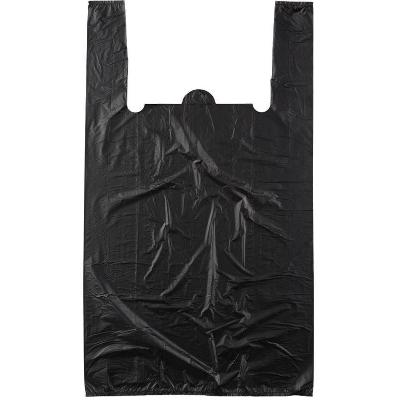 Пакет-майка 30+16х55см, ПНД, 20мкм, черный, 100шт/уп
