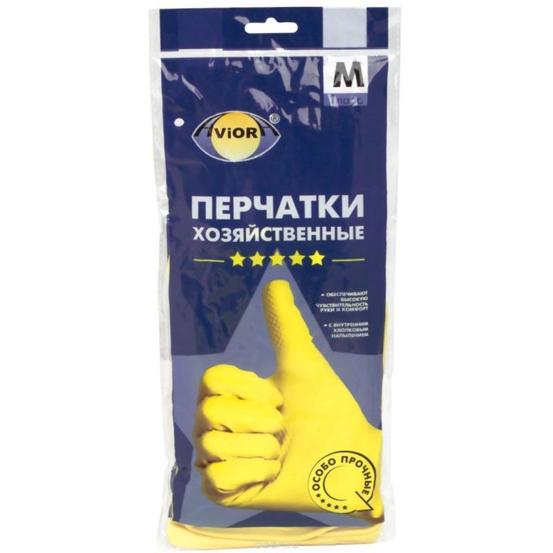 Перчатки резиновые Aviora, 1 пара, размер M, желтые