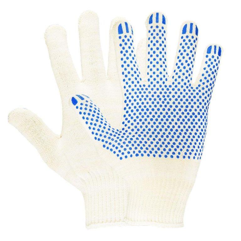 Перчатки х/б, 1 пара, с ПВХ, 13 класс, повышенной прочности, точка
