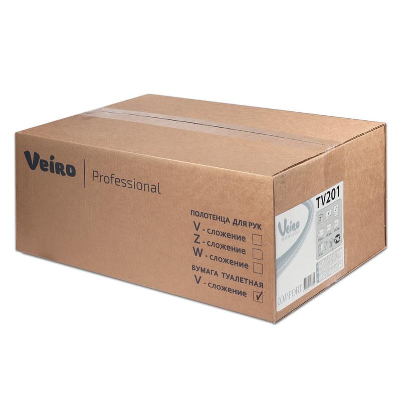 Бумага туалетная Veiro Professional листовая, V-сл, 2-сл, белая, 250шт/пач, 30пач/кор, TV201