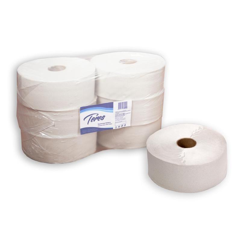 Бумага туалетная Терес в рулоне, 480м/рул, 1-сл, белая, 6рул/уп, Т-0010