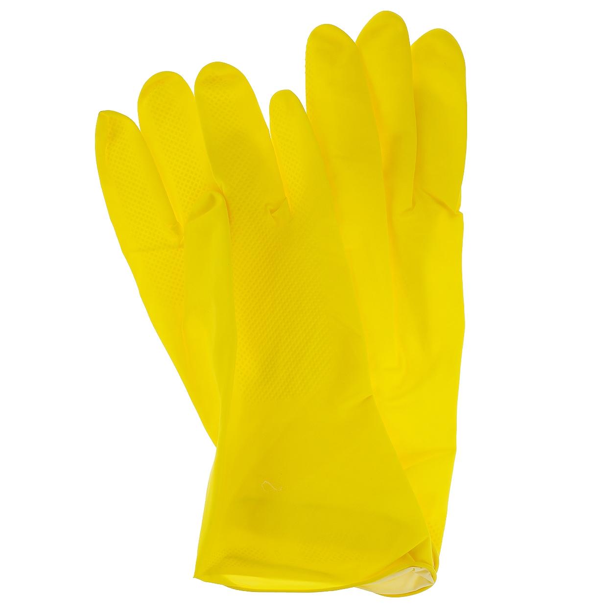 Перчатки резиновые, 1 пара, размер L, желтые, с х/б напылением