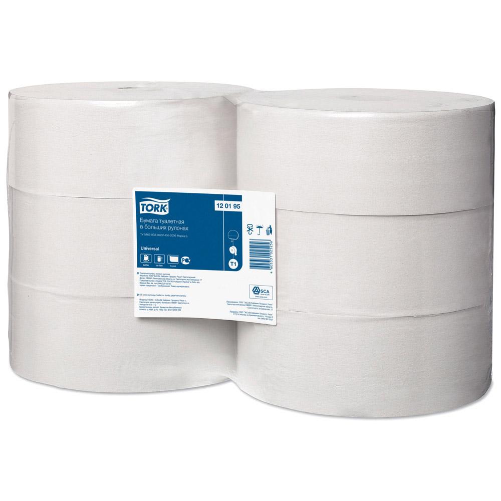Бумага туалетная Tork Universal Т1 в больших рулонах, 525м/рул, 1-сл, белая, 6рул/кор, 120195