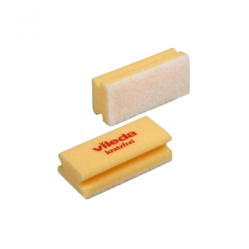 Губка поролоновая Vileda 15х7х4,5см, профильная, белый абразив, желтая, без упаковки, 102564