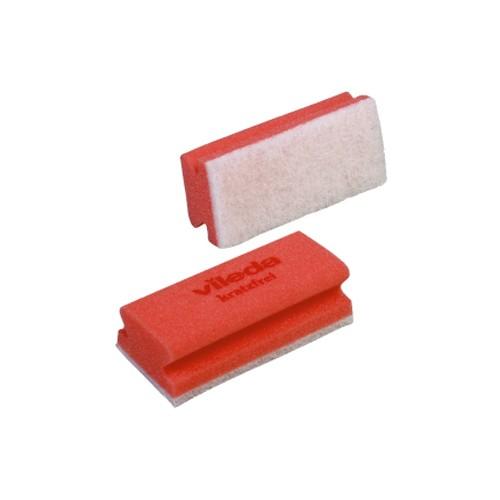 Губка поролоновая Vileda 15х7х4,5см, профильная, белый абразив, красная, без упаковки, 102563