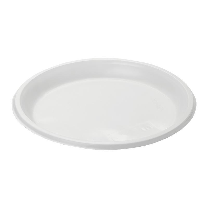 Тарелка пластиковая, D205мм, бессекционная, белая, 100шт/уп