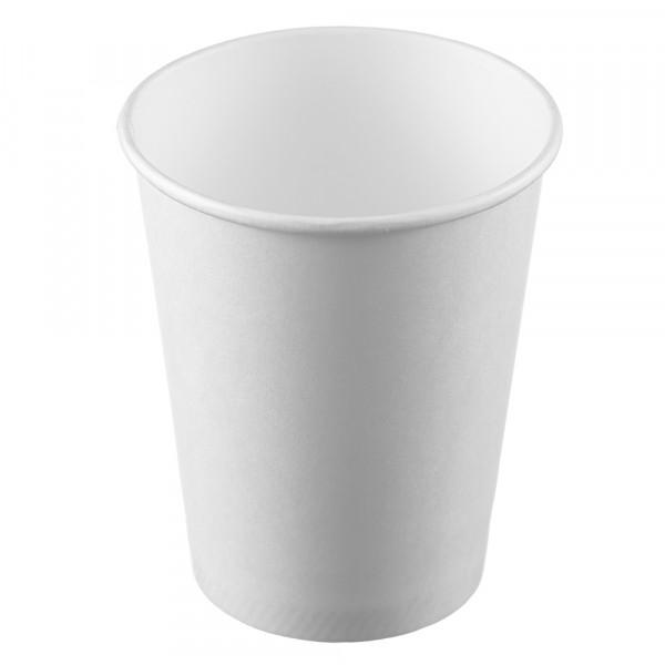 Стакан бумажный Ecocups 250мл, D80мм, 1-сл, без принта, белый, 50шт/уп