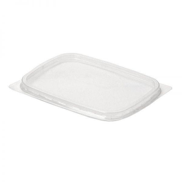 Крышка пластиковая 108х82мм к контейнерам 125/250/350мл, прозрачная, 100шт/уп (ДП)
