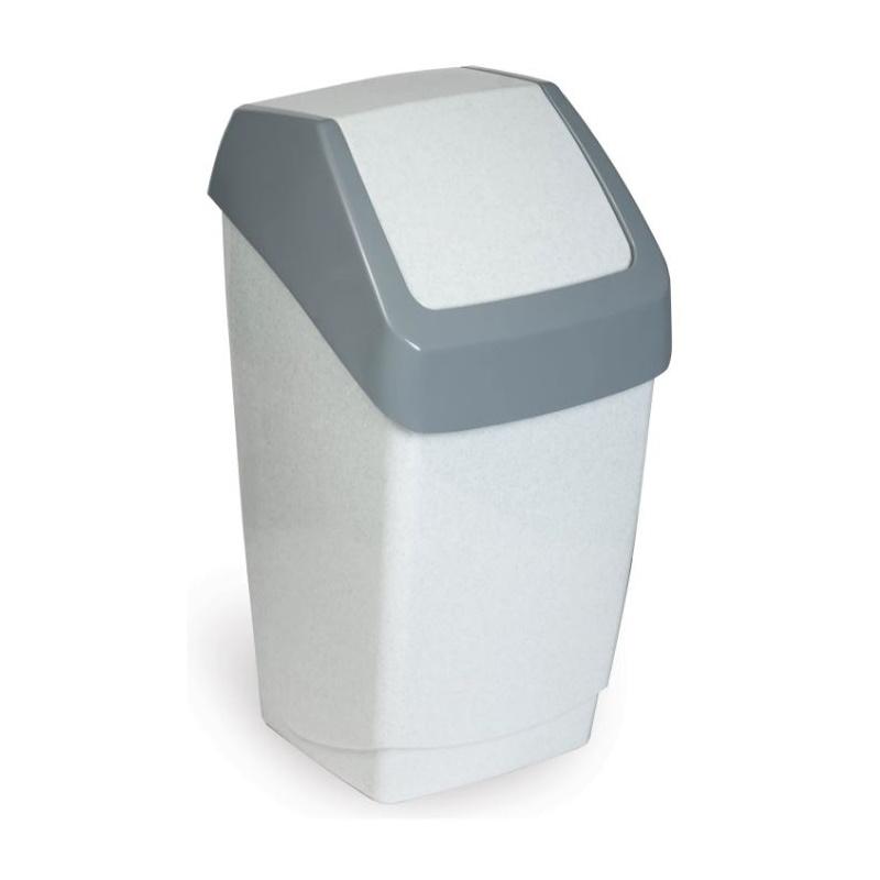 """Ведро-контейнер пластиковое для мусора IDEA """"Хапс"""", 15л, с качающейся крышкой, серое"""