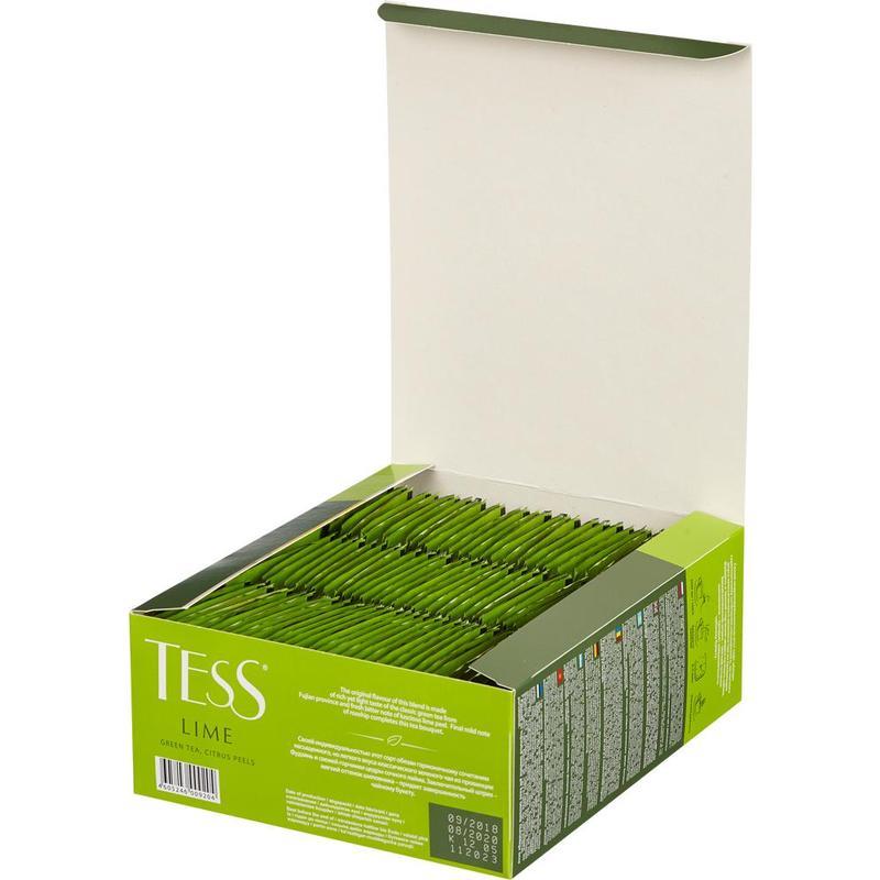 """Чай зеленый TESS """"Lime"""", пакетированный, с цедрой цитрусовых, в индивидуальной упаковке, 100шт/упак"""
