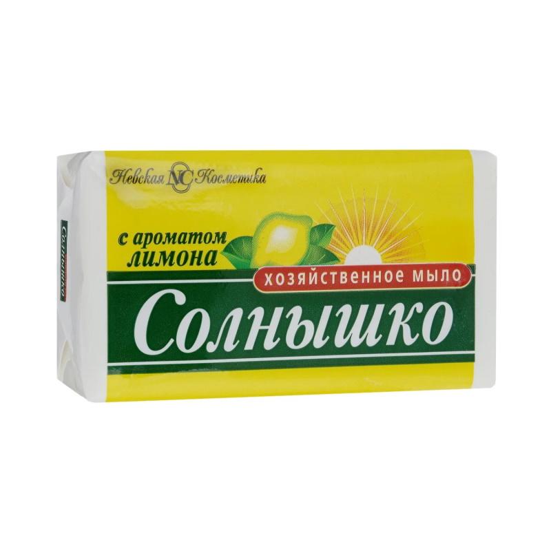 Мыло хозяйственное Солнышко 72%, 140г, лимон, в упаковке